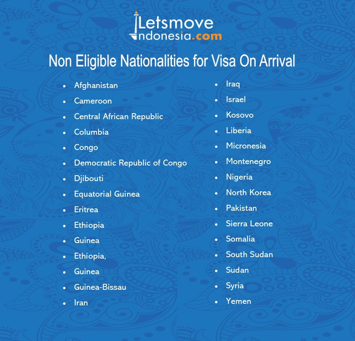 Visa on Arrival | VOA Non Eligible Nationalities
