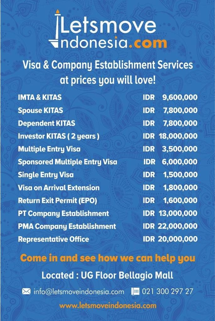 Visa & Company Establishment Prices | LetsMoveIndonesia
